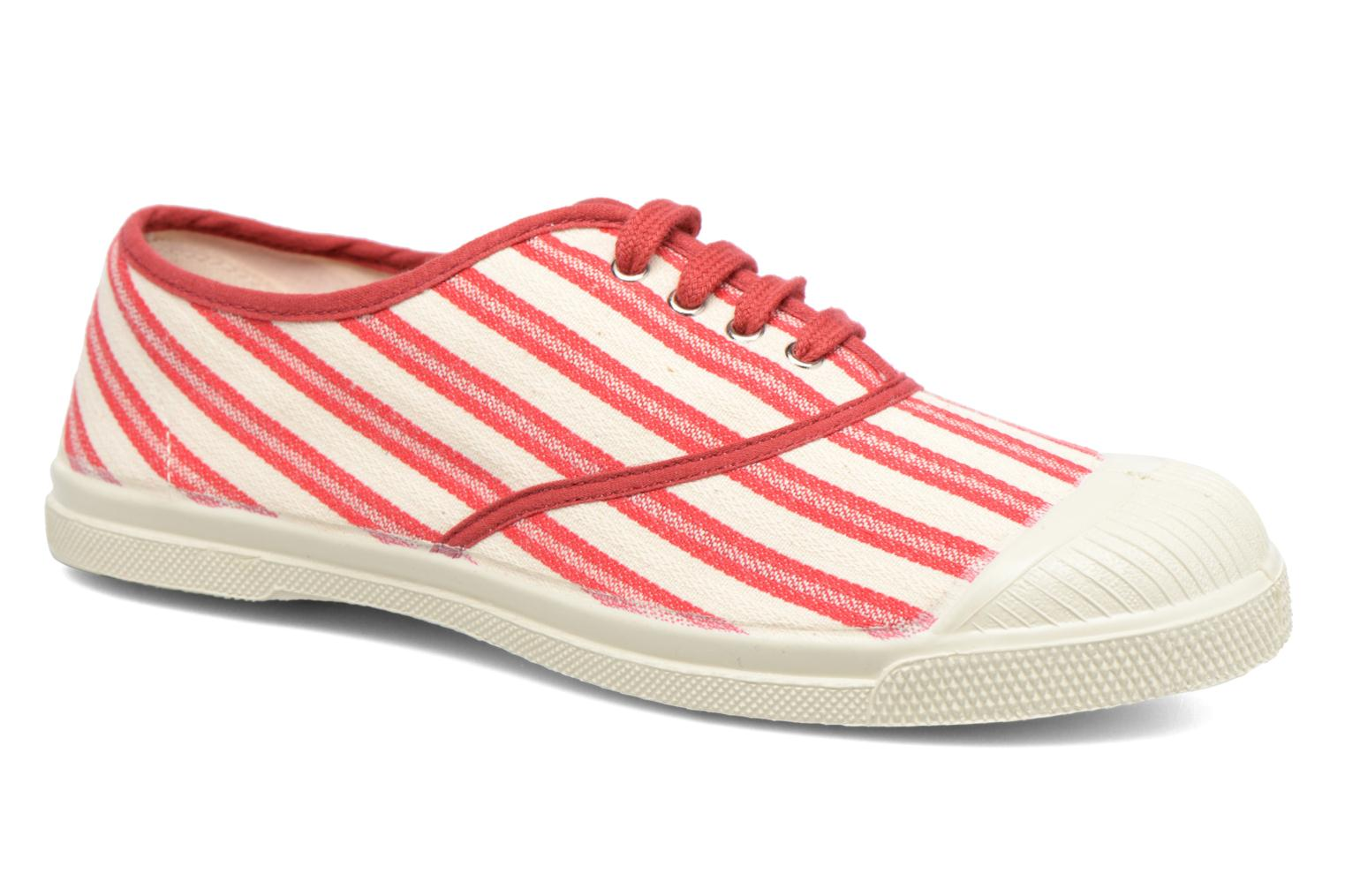 Trainers Bensimon Tennis Rayures Transat Red detailed view/ Pair view