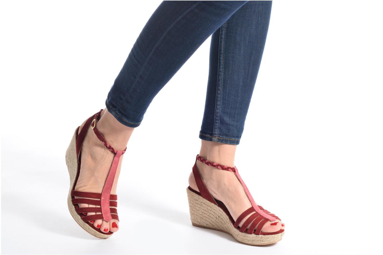 Sandales et nu-pieds Bensimon Compensée Tressée Bordeaux vue bas / vue portée sac