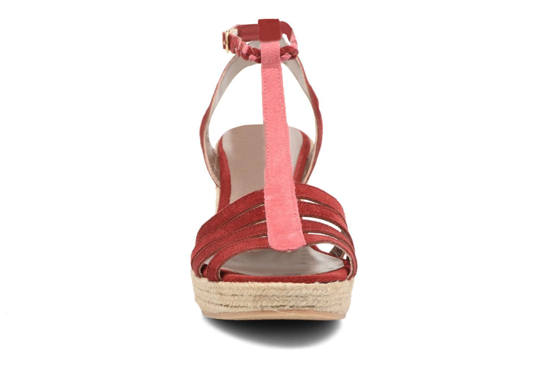 Sandals Bensimon Compensée Tressée Burgundy model view