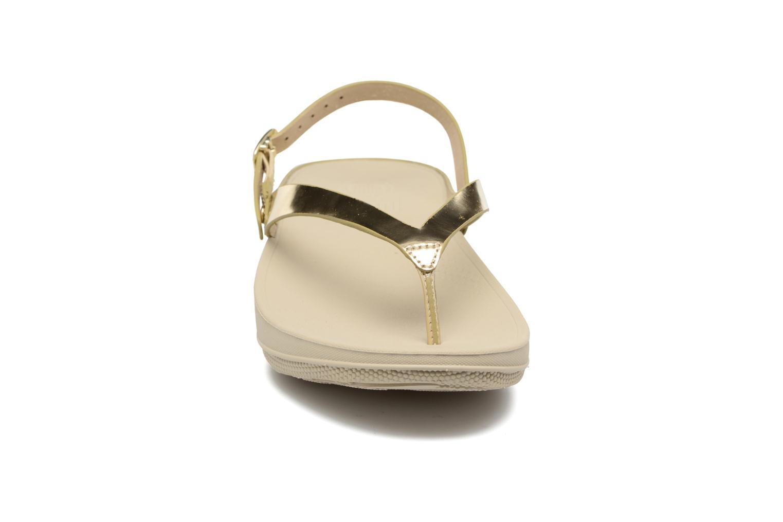 Sandales et nu-pieds FitFlop Flip Leather Sandal Or et bronze vue portées chaussures