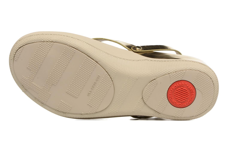Sandales et nu-pieds FitFlop Flip Leather Sandal Or et bronze vue haut