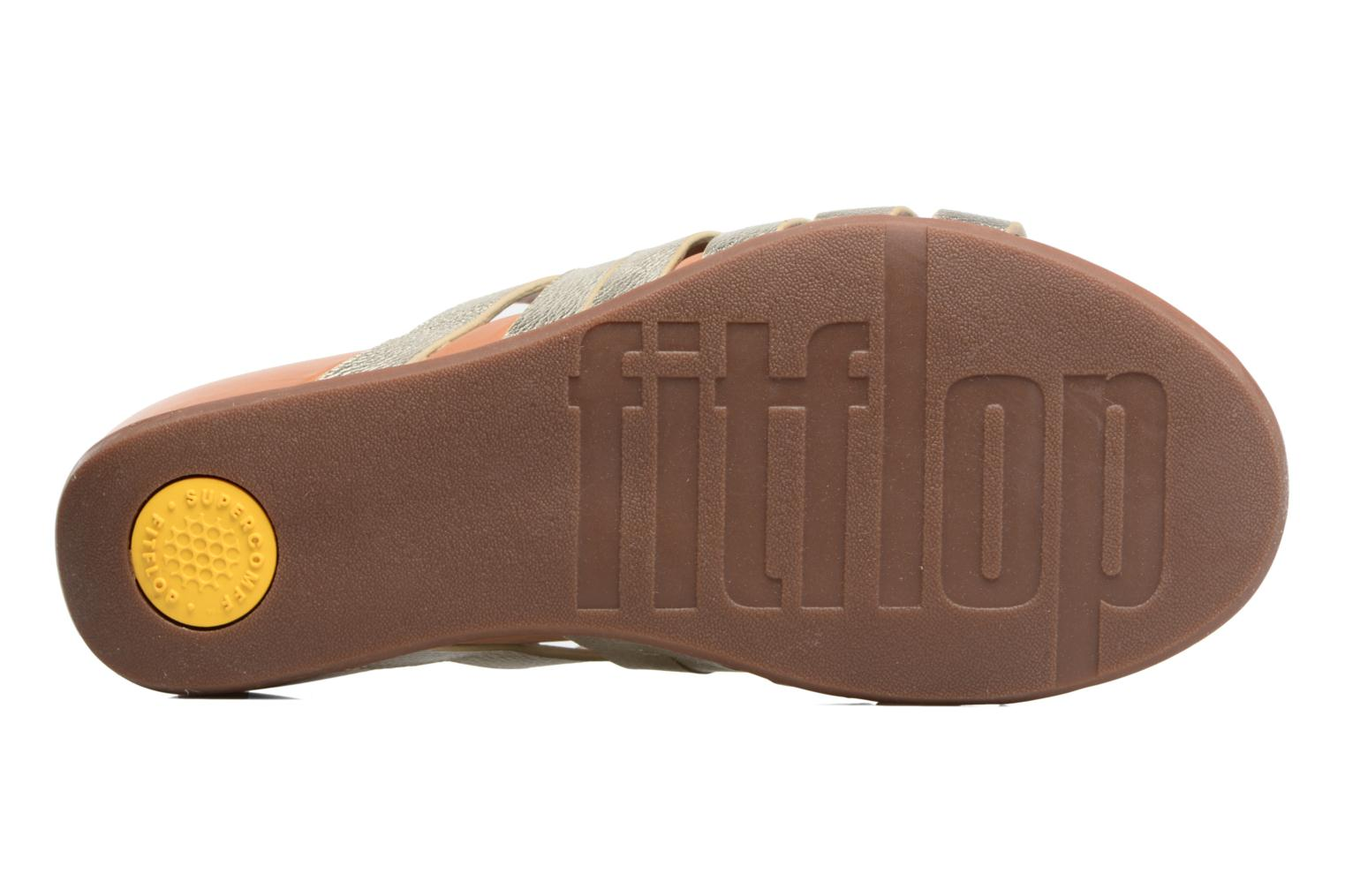 Mules & clogs FitFlop Lumy Leather Slide Bronze and Gold view from above