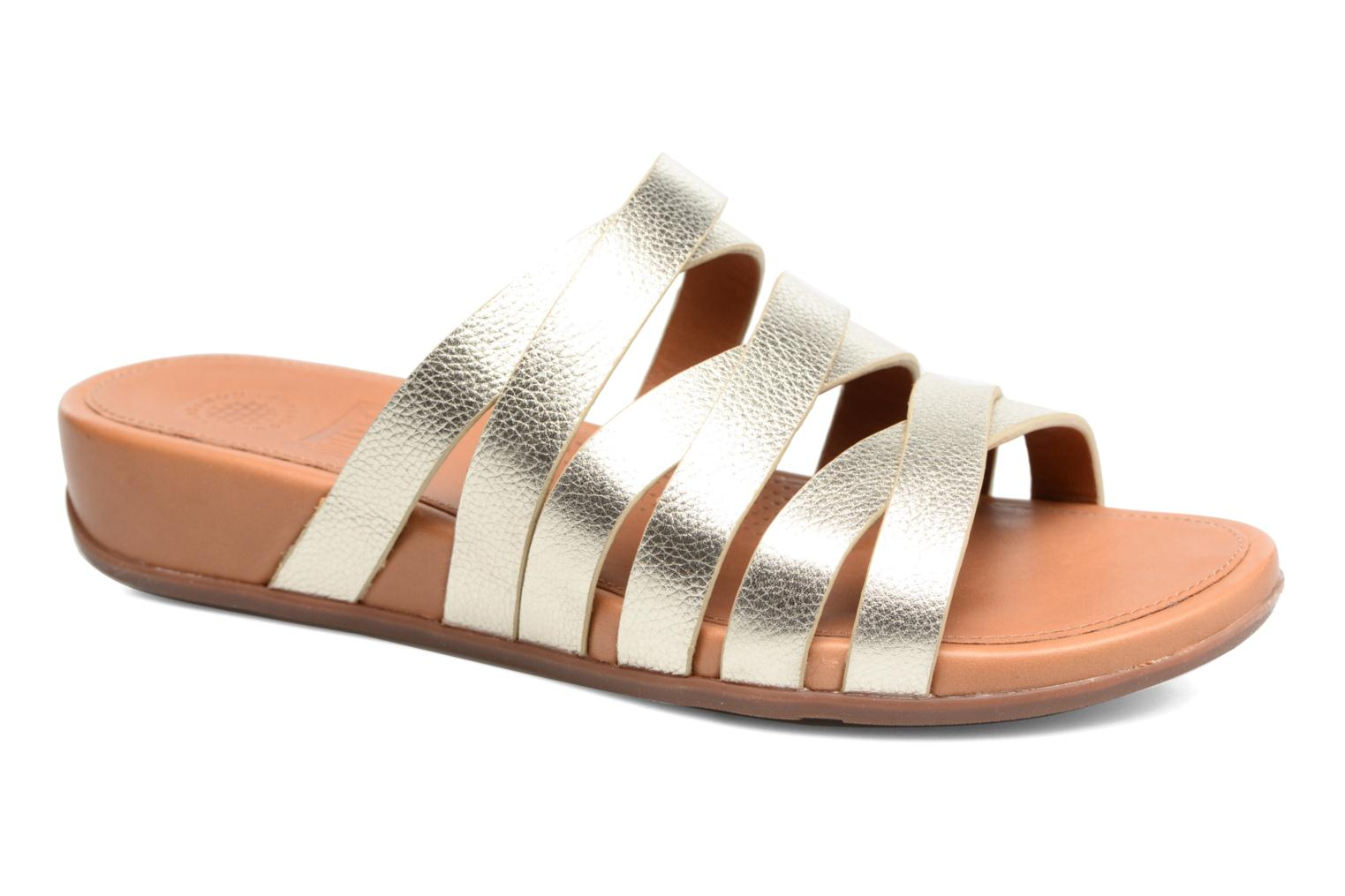 Mules & clogs FitFlop Lumy Leather Slide Bronze and Gold detailed view/ Pair view