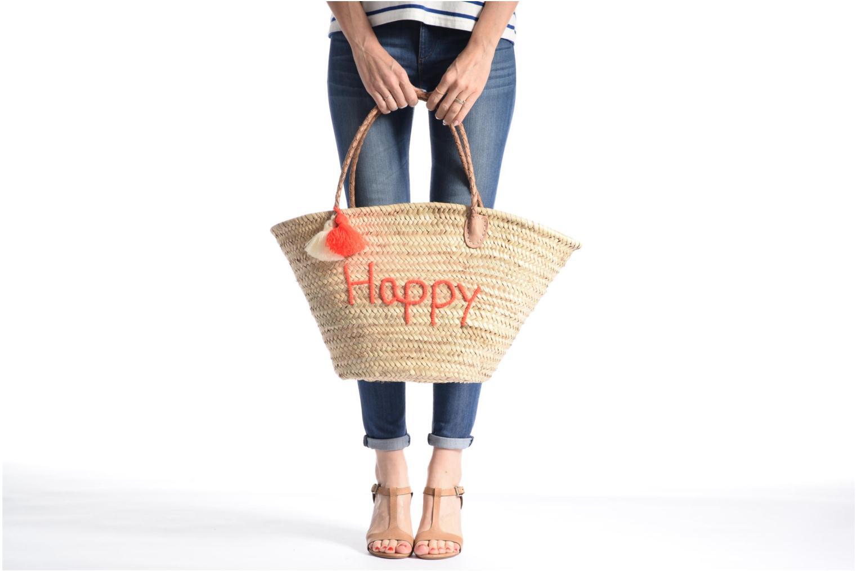 Handtassen Etincelles Panier artisanal Happy Orange Fluo Oranje boven
