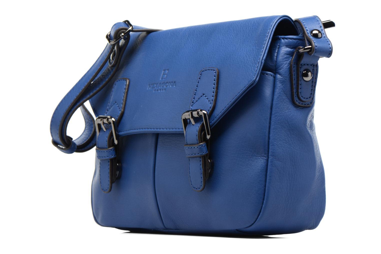 Sacs à main Hexagona Sauvage Mini besace Cuir Bleu vue portées chaussures