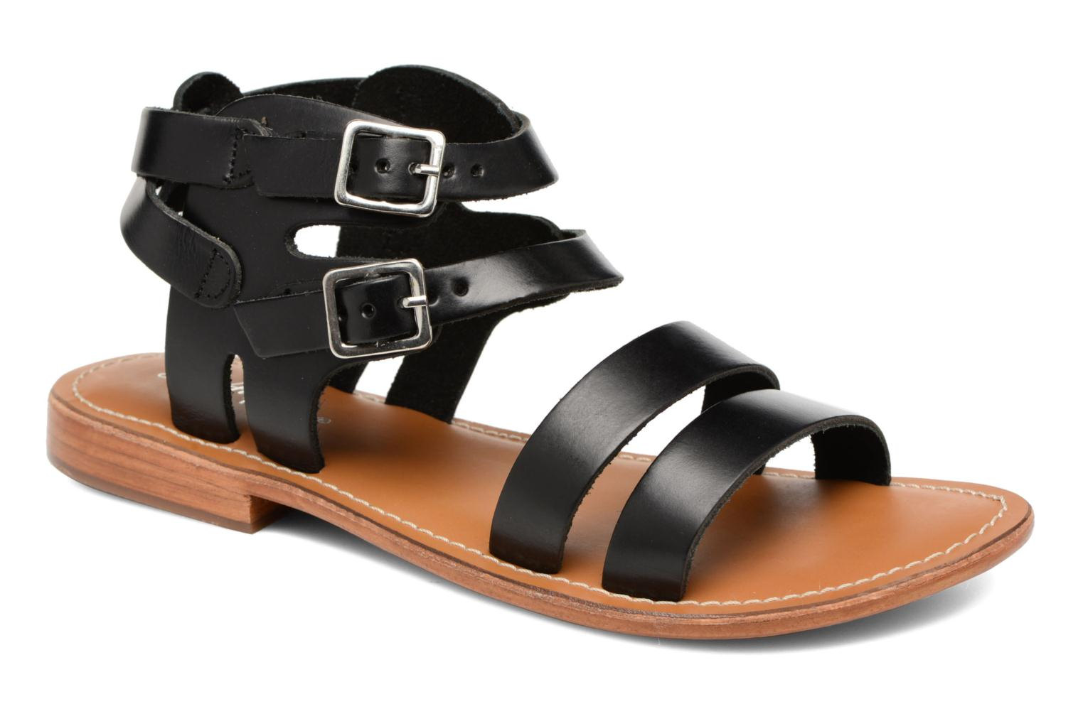Sandals L'Atelier Tropézien Liz Black detailed view/ Pair view