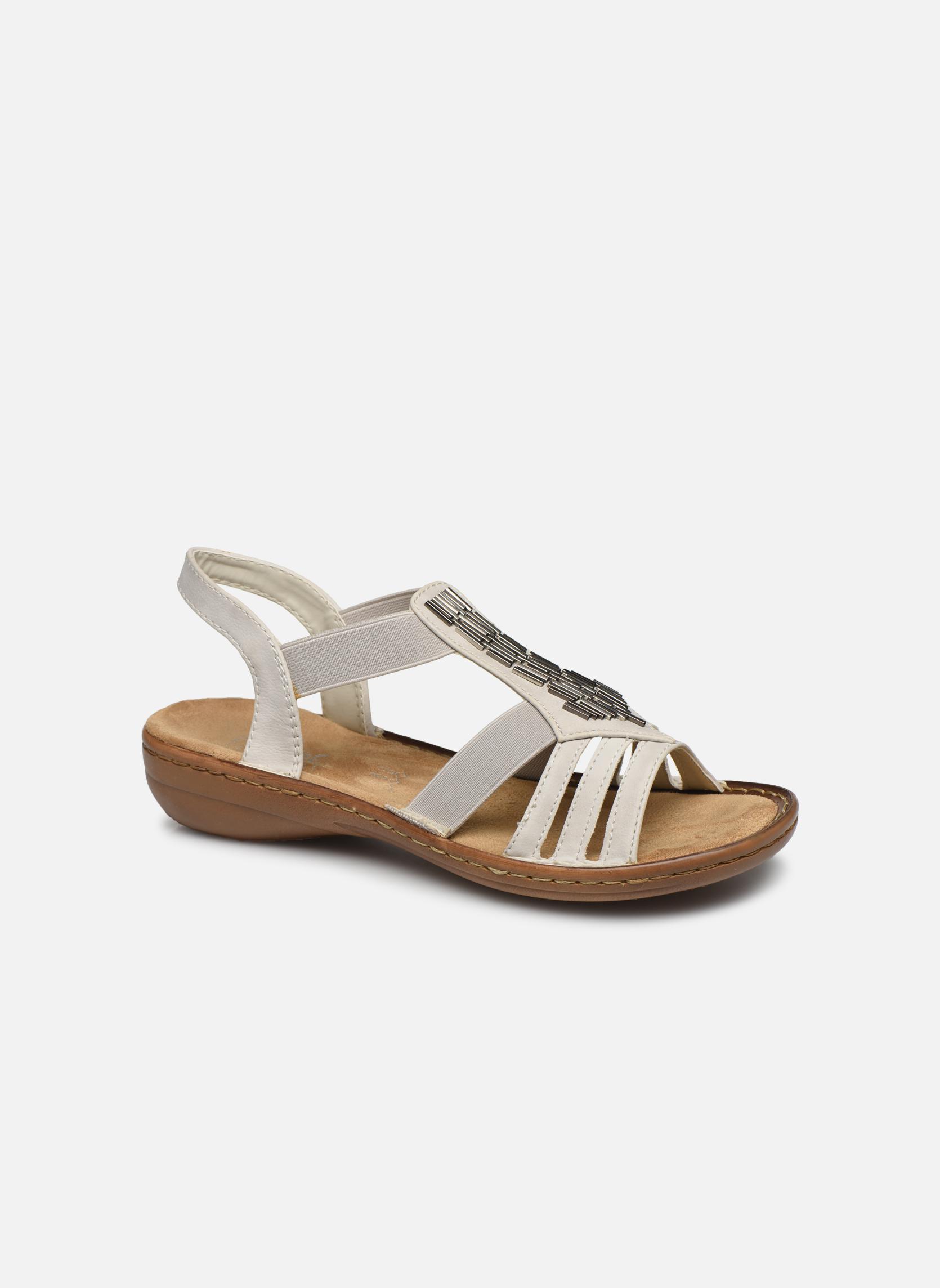 Sandales et nu-pieds Rieker Amty 60801 Blanc vue détail/paire