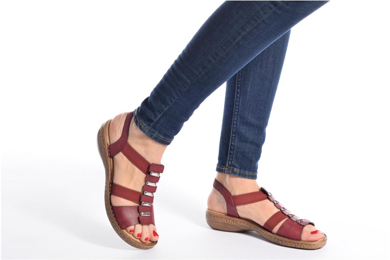 Sandales et nu-pieds Rieker Augusta 62850 Rouge vue bas / vue portée sac