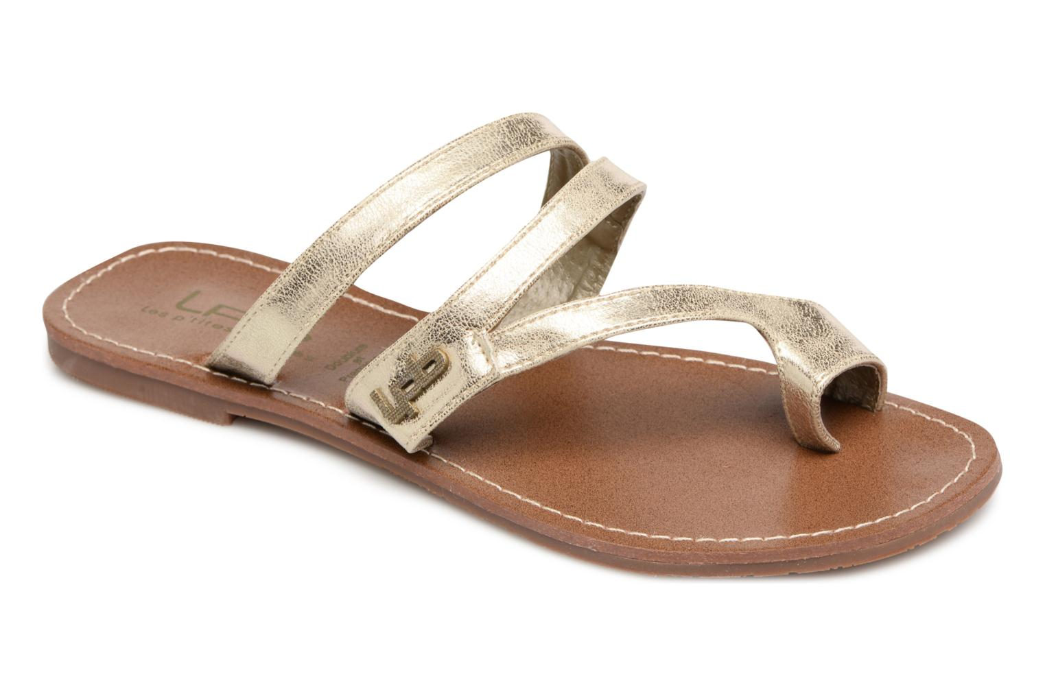 Sandals Les P'tites Bombes Texane Bronze and Gold detailed view/ Pair view