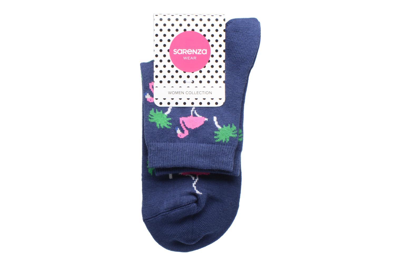 Socken & Strumpfhosen Sarenza Wear Chaussette Femme Flamants Rose Coton blau ansicht von hinten