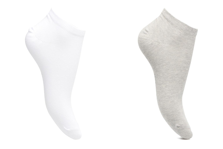 Chaussettes Enfant Pack de 2 invisibles Unies Gris/blanc