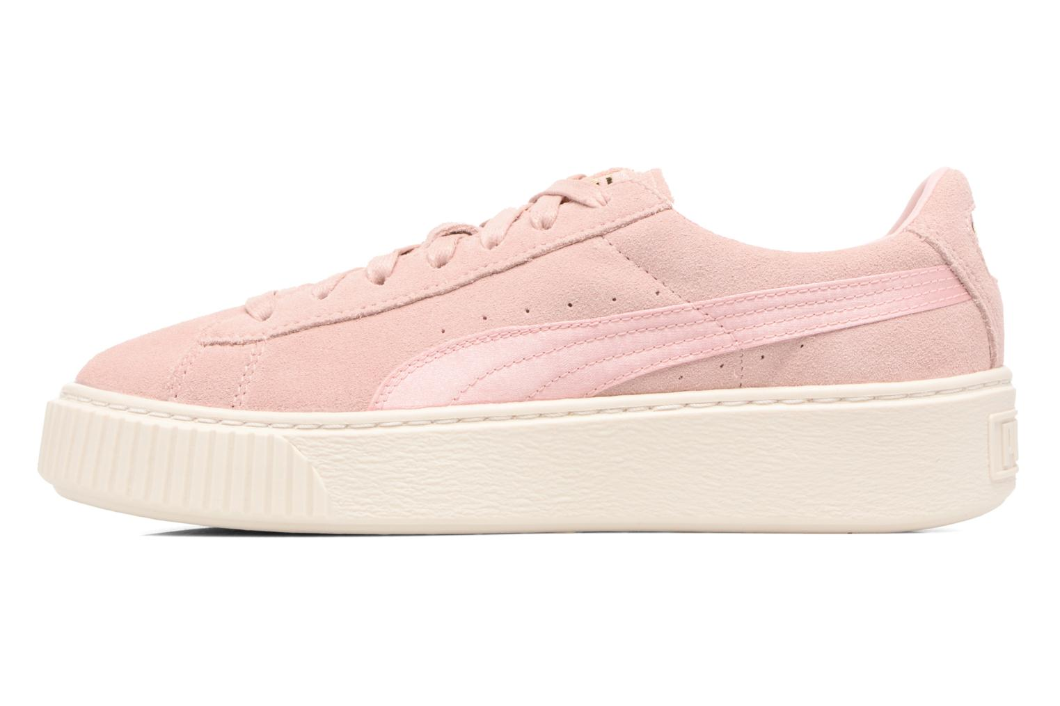 Baskets Puma WNS SUEDE PLATF SATIN Rose vue face