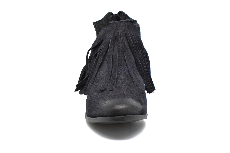 Bottines et boots Pieces Decca Suede Boot Fringe Navy Blazer Bleu vue portées chaussures