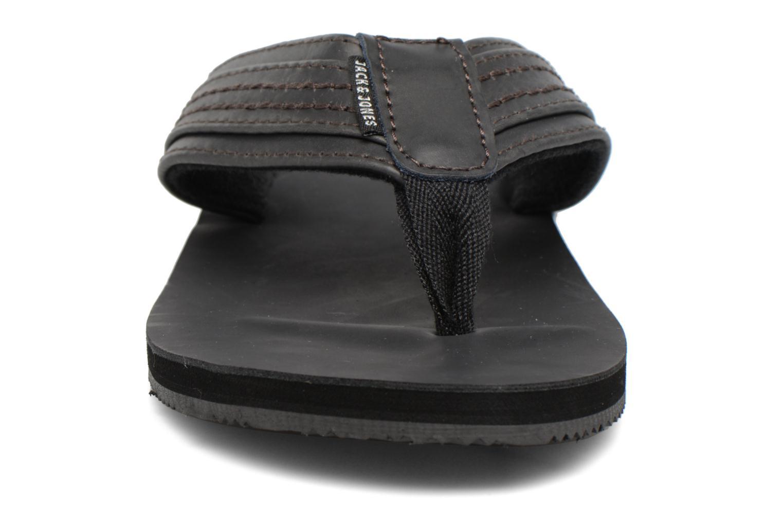 Tongs Jack & Jones Bob leather sandal Gris vue portées chaussures