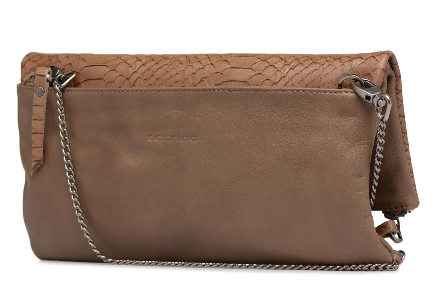 Clutch bags Sabrina Léonie croco Brown view from the right
