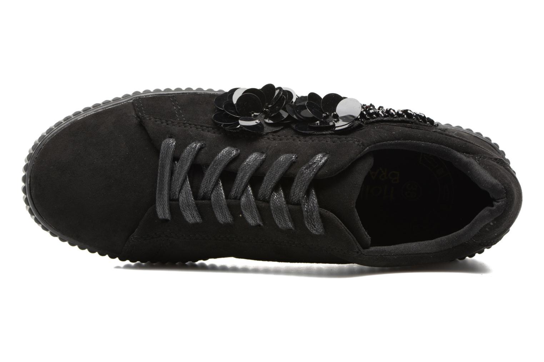 Sneakers Molly Bracken Black Flowers Zwart links