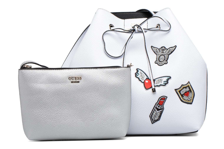 Handbags Guess Seau Reversible Patchs Bobbi Noir White back view