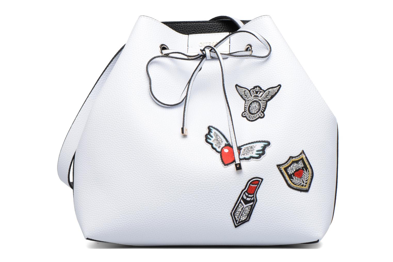 Handtassen Guess Seau Reversible Patchs Bobbi Noir Wit detail