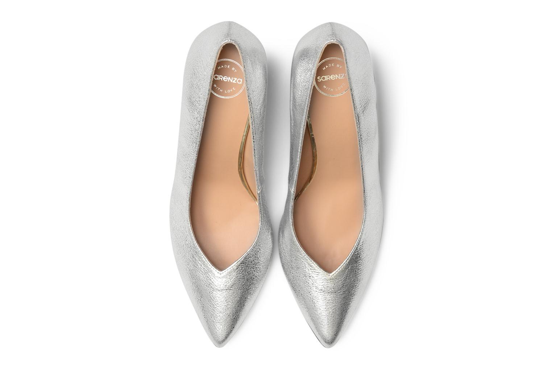 Zapatos de tacón Made by SARENZA Crazy Seventy #5 Plateado vista del modelo