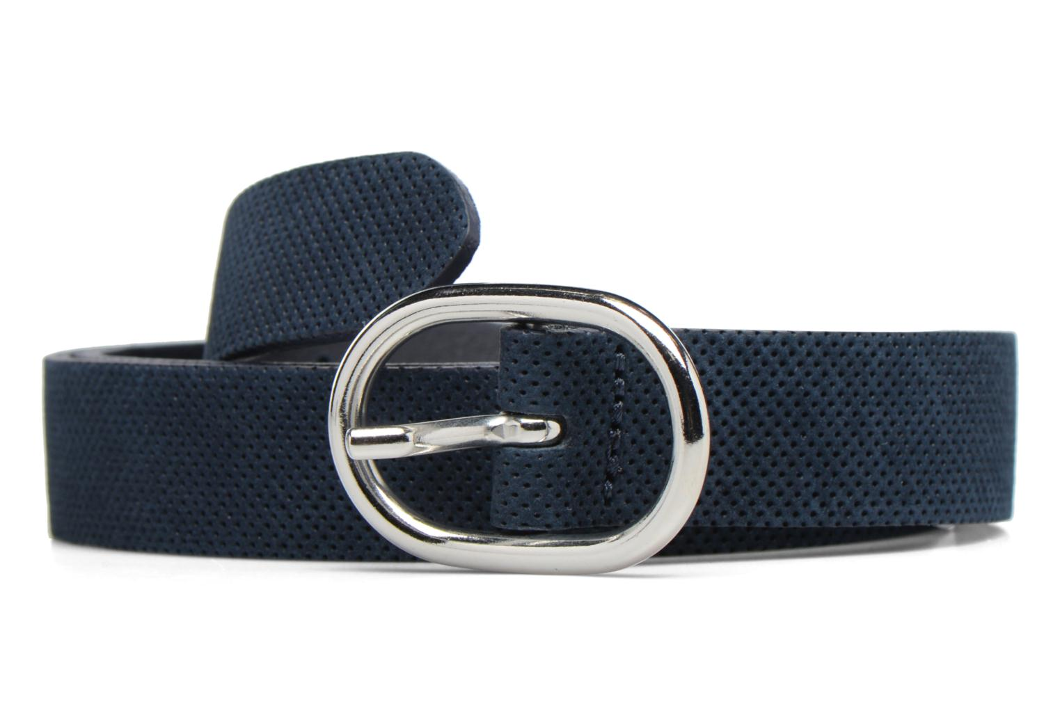 Perforated Leather Belt 25mm Navy
