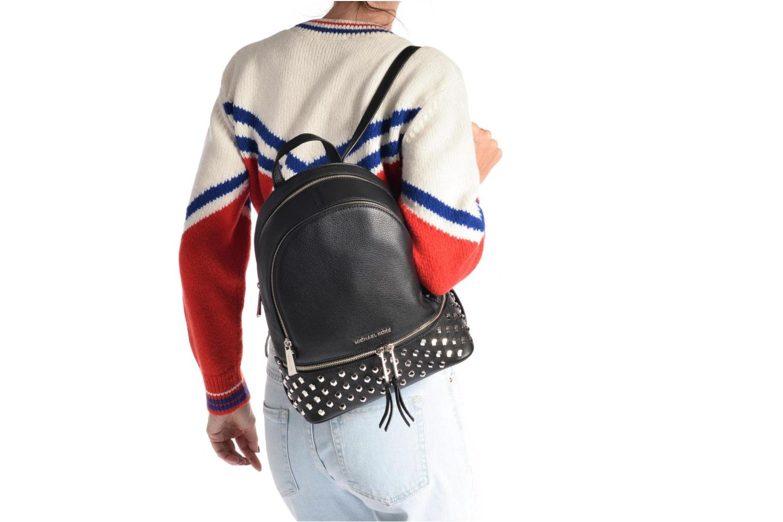 Sacs à dos Michael Michael Kors Rhea Zip FCT STD MD Backpack Noir vue haut