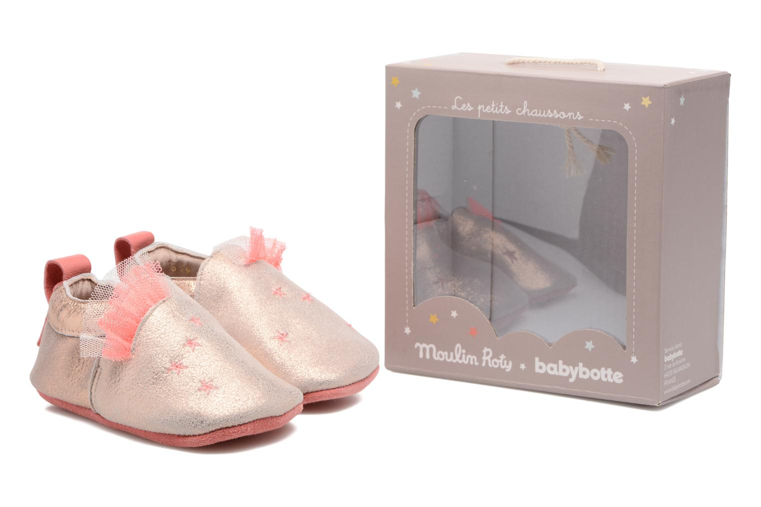 Chaussons Babybotte Etoiles - Moulin Roty Or et bronze vue 3/4