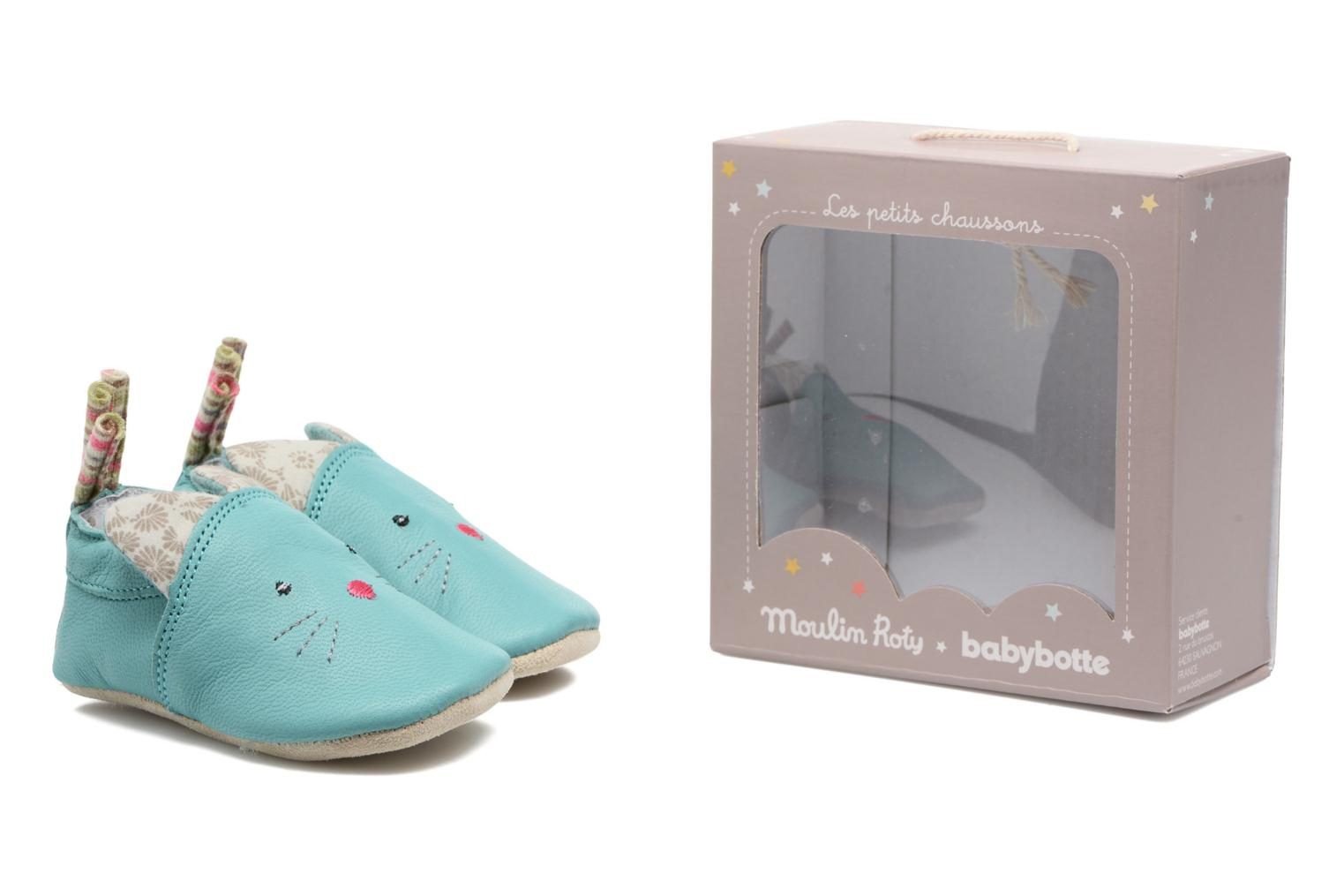 Chaussons Babybotte Chat - Moulin Roty Bleu vue 3/4