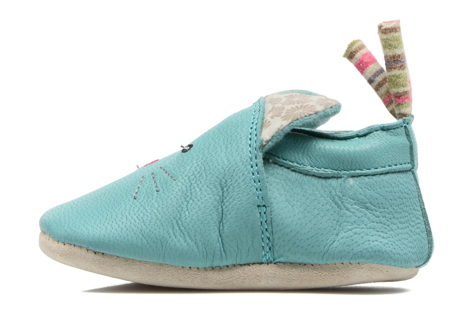 Chaussons Babybotte Chat - Moulin Roty Bleu vue face
