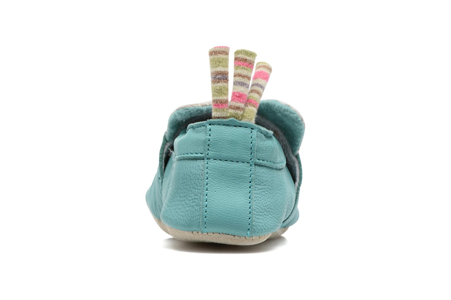 Chaussons Babybotte Chat - Moulin Roty Bleu vue droite