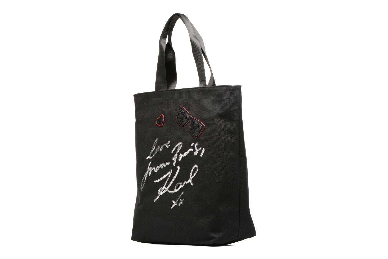Sacs à main KARL LAGERFELD Paris Canvas Bag zippée Noir vue portées chaussures