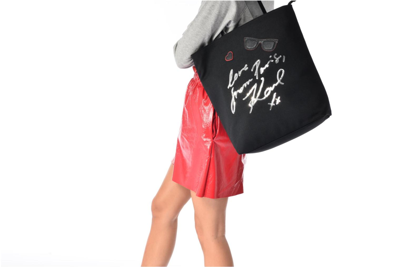 Sacs à main KARL LAGERFELD Paris Canvas Bag zippée Noir vue haut