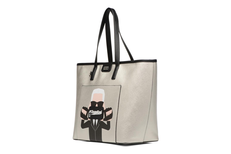 Borse Karl Lagerfeld Team Karl Shopper Argento modello indossato