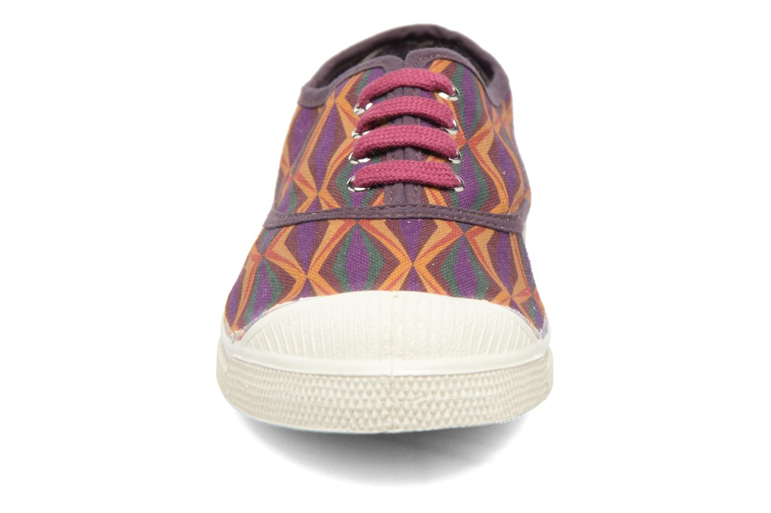 Trainers Bensimon Tennis Losanges Burgundy model view
