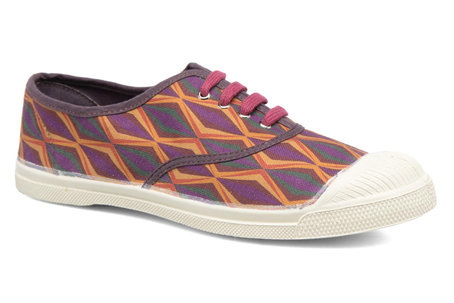 Trainers Bensimon Tennis Losanges Burgundy detailed view/ Pair view