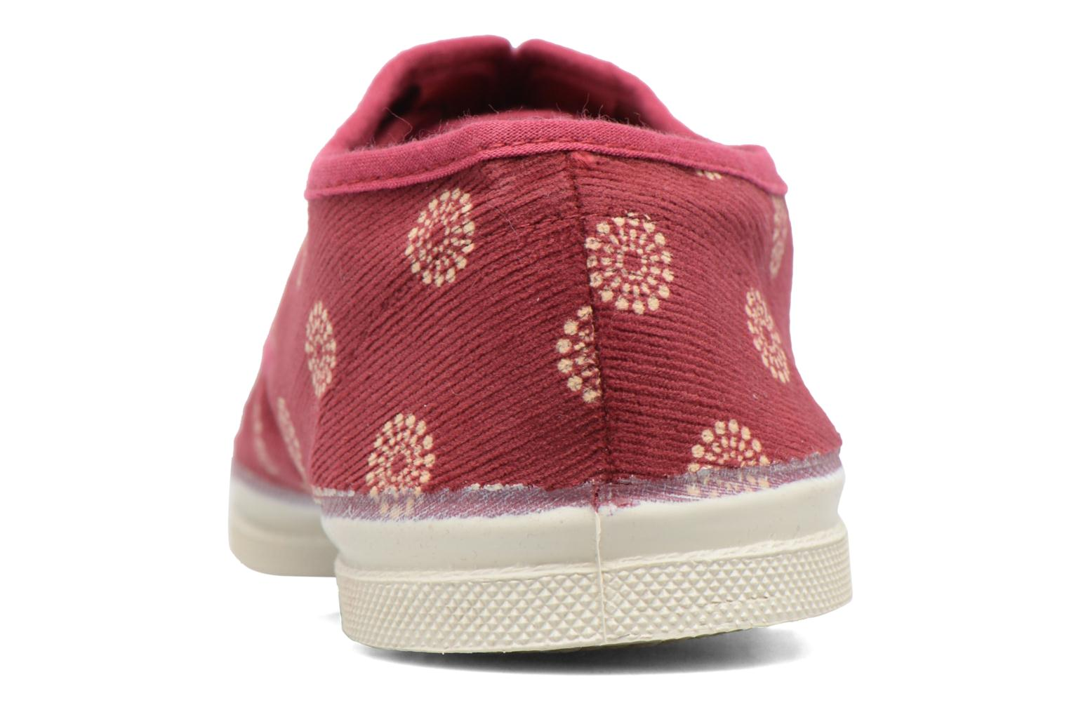 Trainers Bensimon Tennis Corduroy Burgundy view from the right