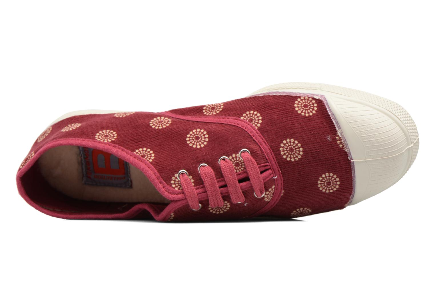 Trainers Bensimon Tennis Corduroy Burgundy view from the left