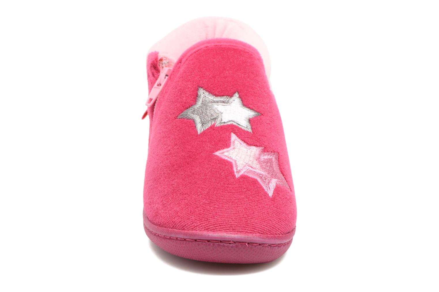 Slippers Isotoner Botillon Zip Polyvelours Pink model view