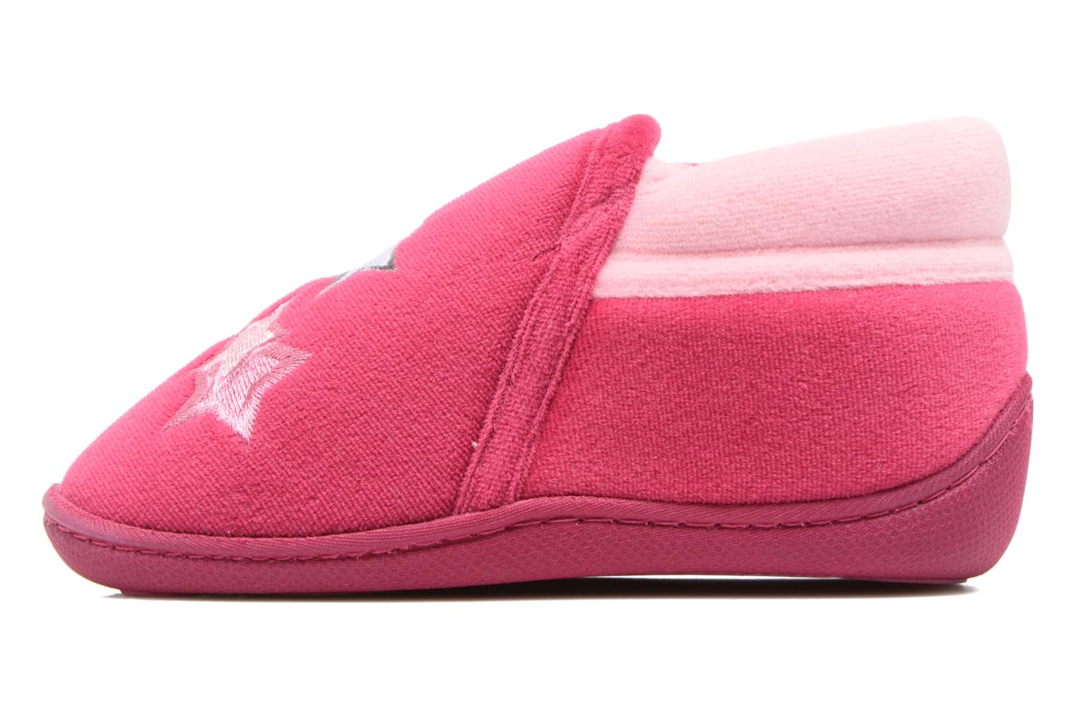 Slippers Isotoner Botillon Zip Polyvelours Pink front view