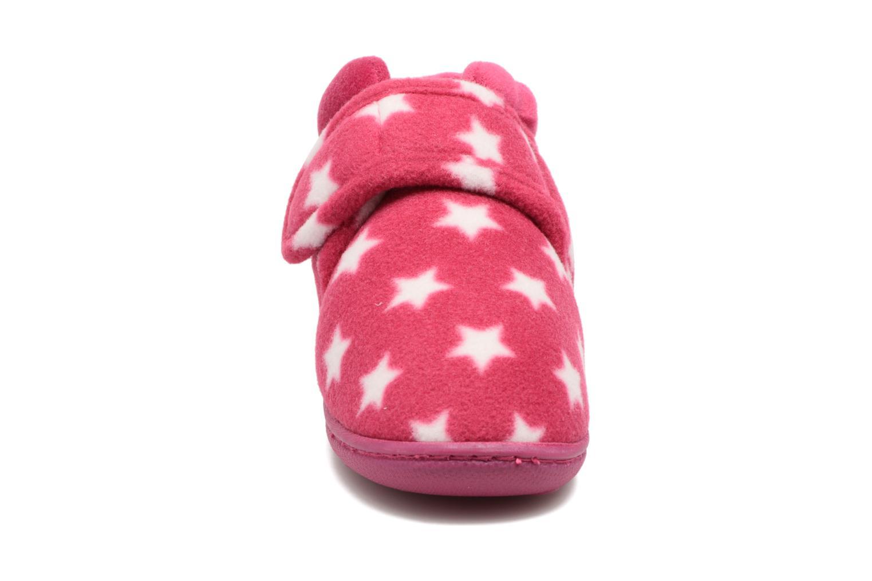 Chaussons Isotoner Botillon Velcro Polaire Rose vue portées chaussures