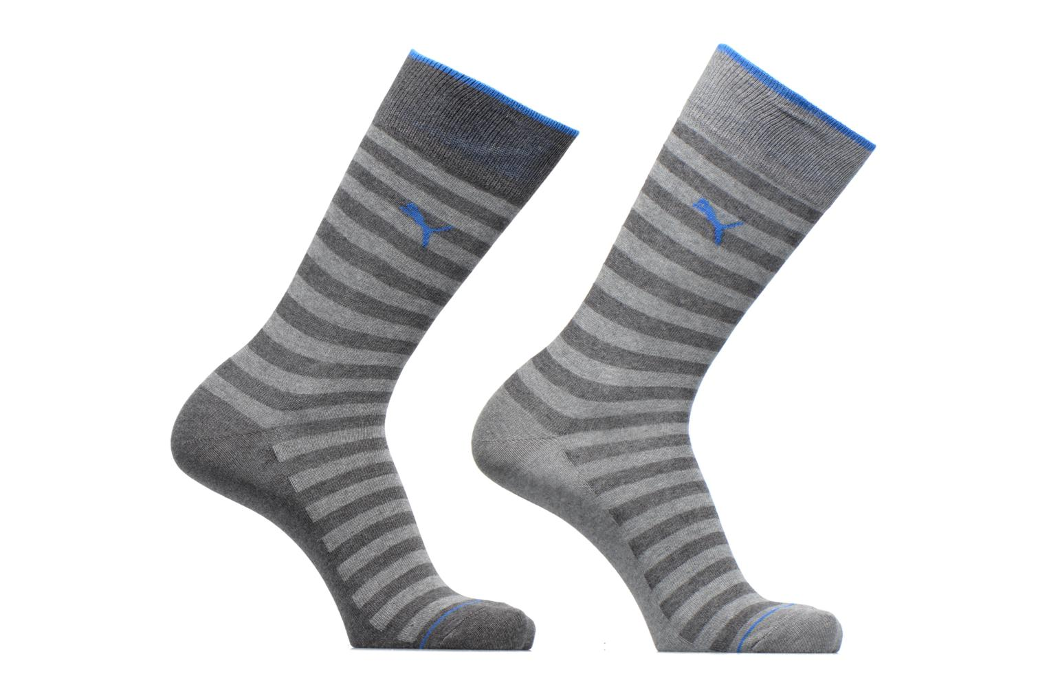 CLASSIC SOCKS LOT DE 2 201 RAYURES ANTHRACITE