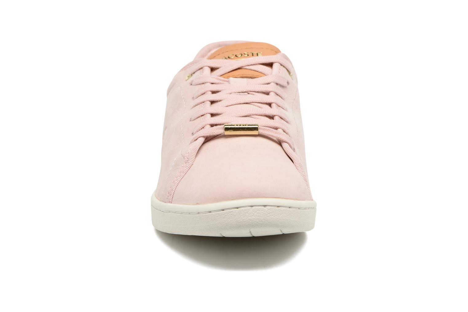 Baskets Lacoste CARNABY EVO 317 8 Rose vue portées chaussures