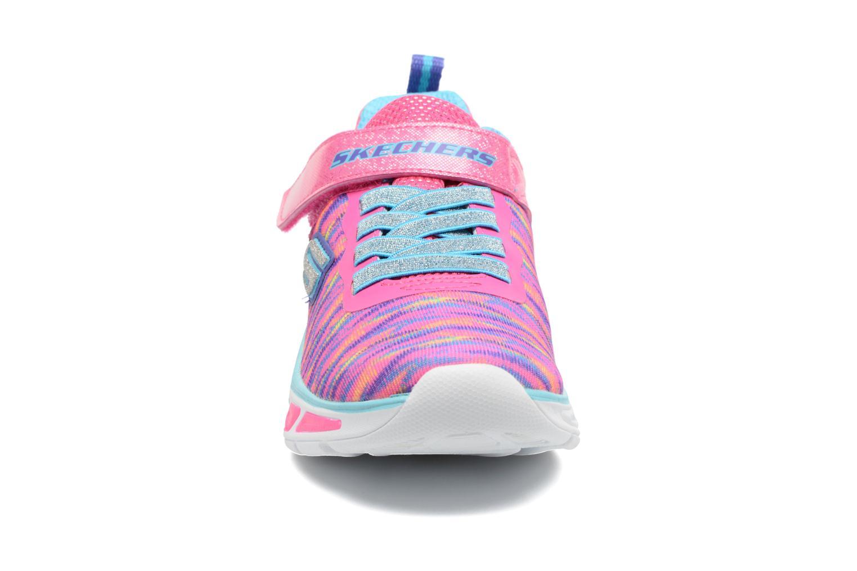Baskets Skechers Litebeams Colorburst Rose vue portées chaussures