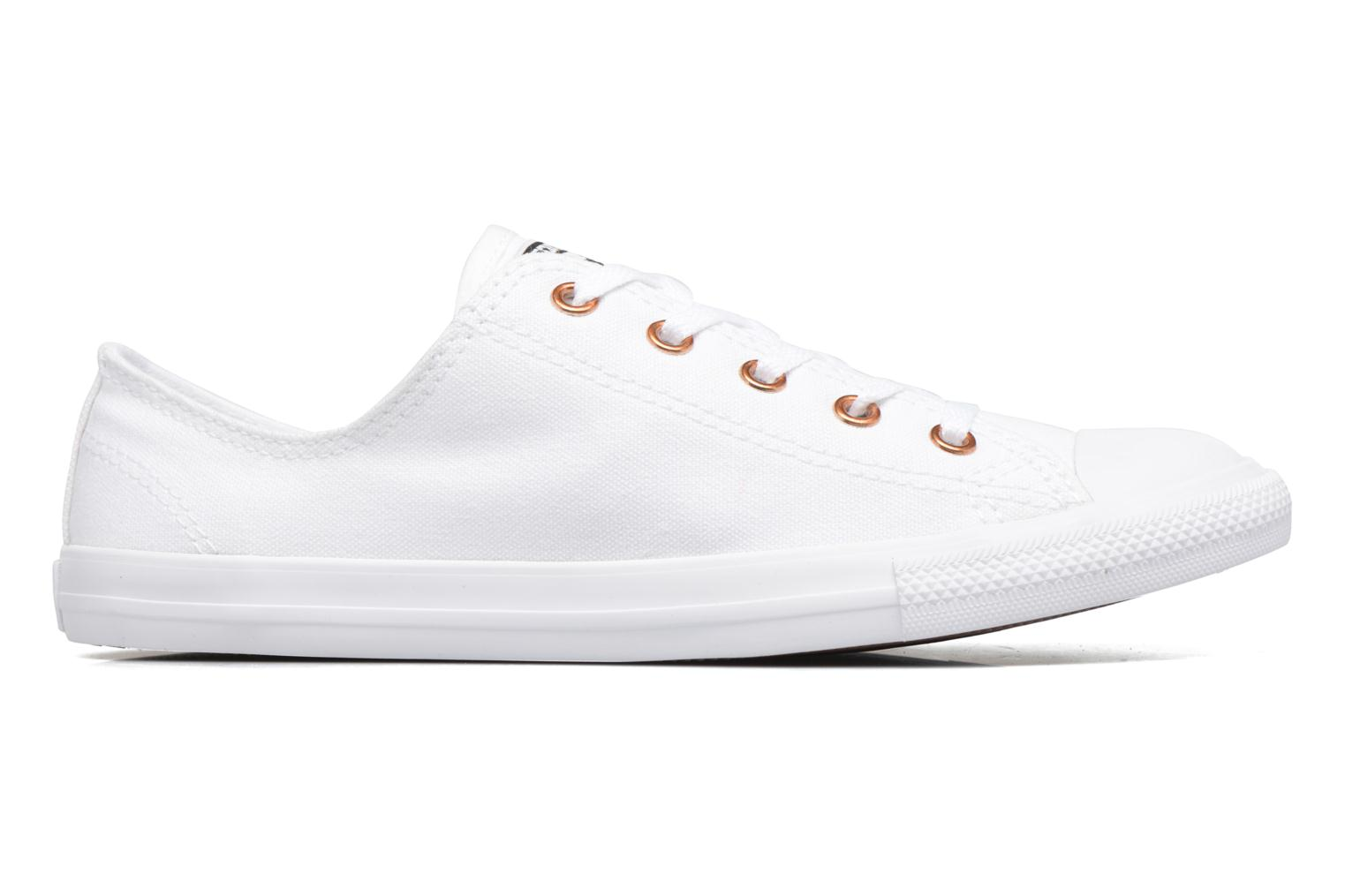 Baskets Converse Chuck Taylor All Star Dainty Canvas + Rose Gold Eyelets Ox Blanc vue derrière