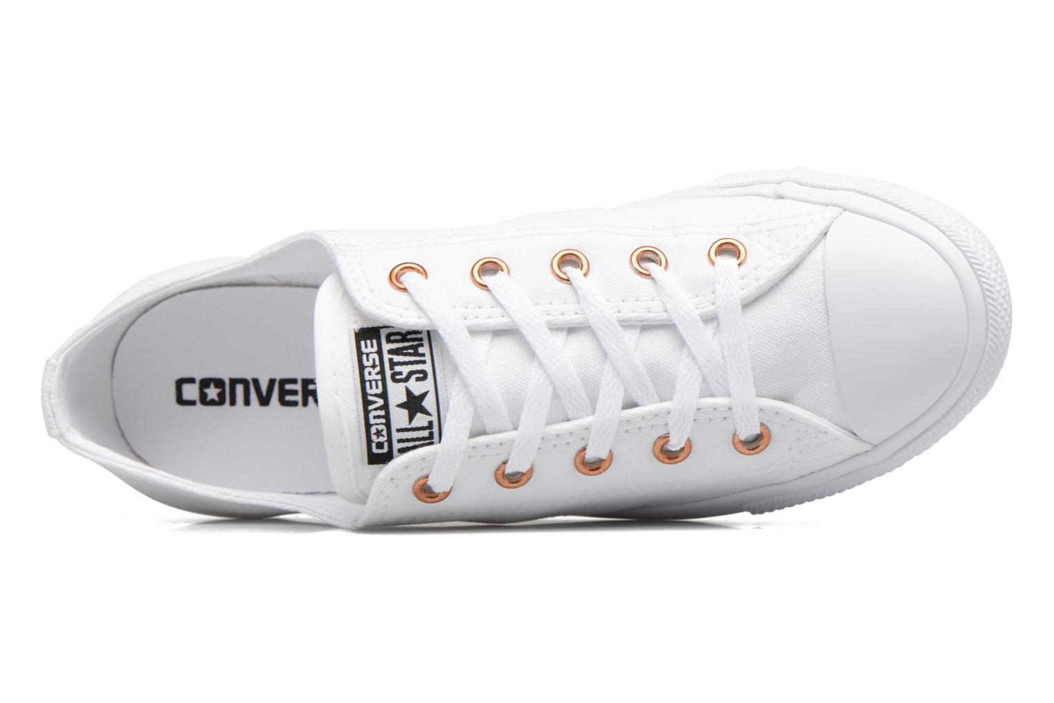 Baskets Converse Chuck Taylor All Star Dainty Canvas + Rose Gold Eyelets Ox Blanc vue gauche