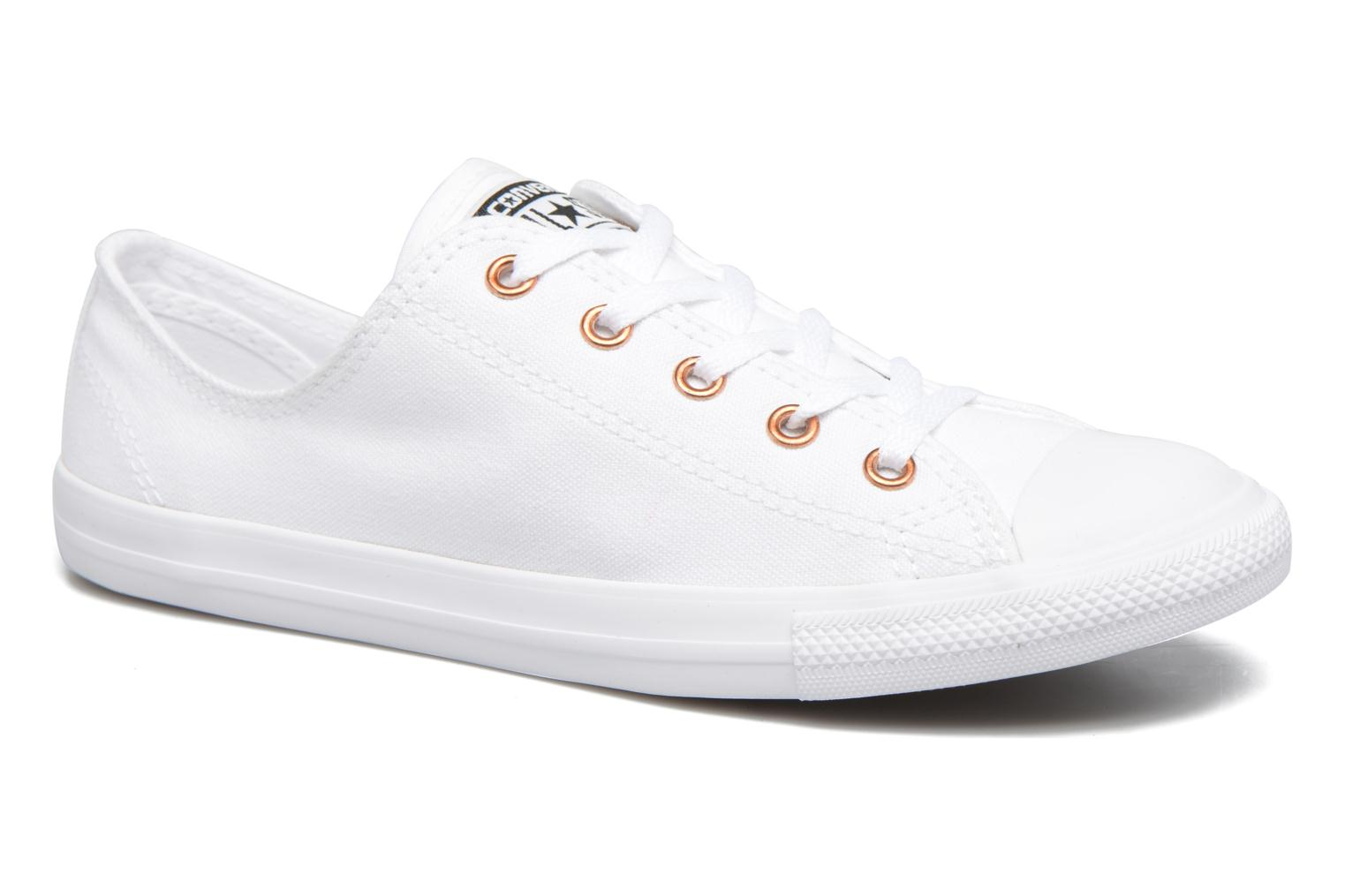Baskets Converse Chuck Taylor All Star Dainty Canvas + Rose Gold Eyelets Ox Blanc vue détail/paire