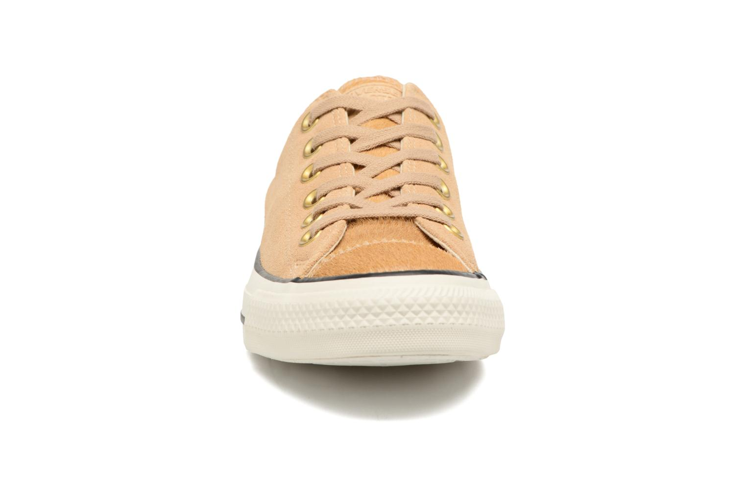 Baskets Converse Chuck Taylor All Star Pony Hair Ox Beige vue portées chaussures