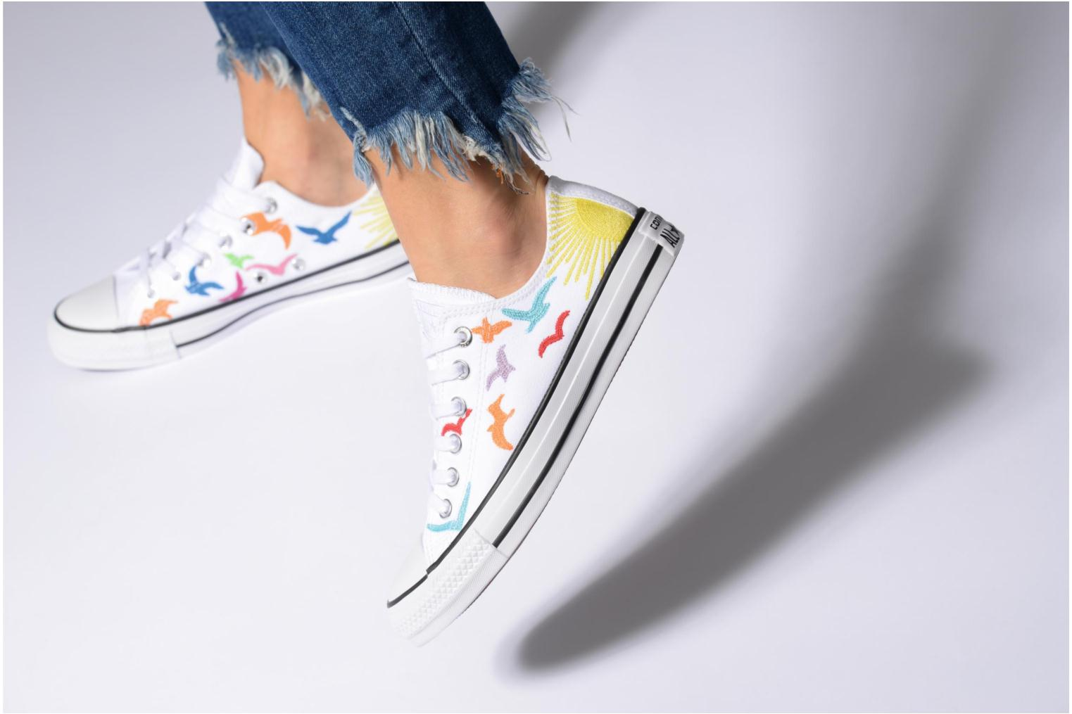 Trainers Converse Chuck Taylor All Star Mara Hoffman Rainbow Birds Ox White view from underneath / model view