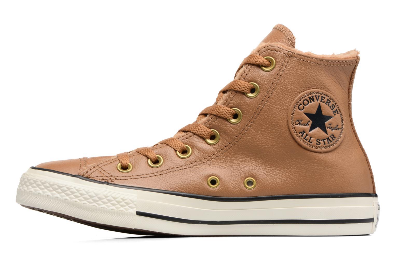 Baskets Converse Chuck Taylor All Star Leather + Fur Hi Marron vue face