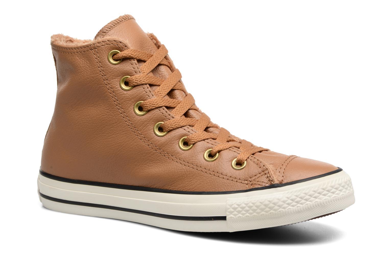 Baskets Converse Chuck Taylor All Star Leather + Fur Hi Marron vue détail/paire