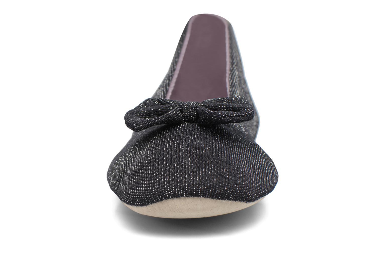 Chaussons Isotoner Ballerine jersey lurex grand nœud F Noir vue portées chaussures